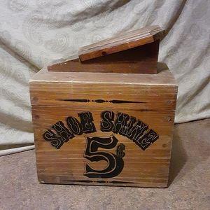 Vintage Rustic Look Solid Wood Shoe Shine Box